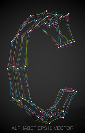 wire frame: Abstract illustration of a Multicolor sketched C with Transparent Shadow. Hand drawn 3D C for your design. EPS 10 vector illustration.
