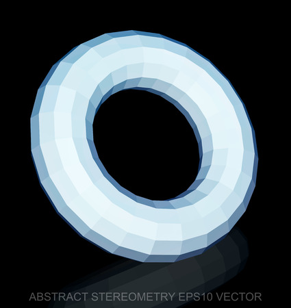 torus: Abstract geometry: low poly White Torus. 3D polygonal object, EPS 10, vector illustration.