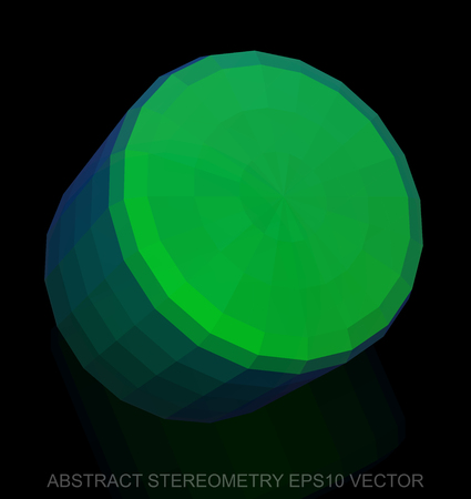 Abstract geometry: low poly Green Cylinder. 3D polygonal object, EPS 10, vector illustration. Illustration