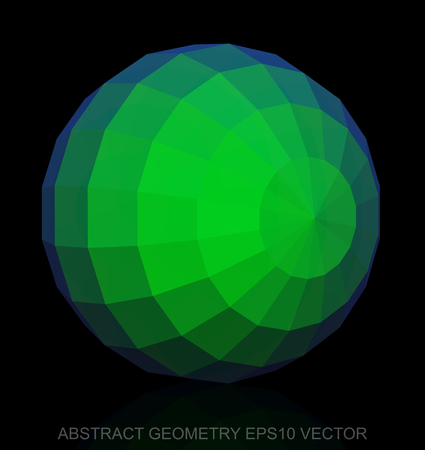 Abstract stereometry: low poly Green Sphere. 3D polygonal object, EPS 10, vector illustration. Illustration
