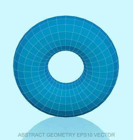 torus: Abstract stereometry: low poly Blue Torus. 3D polygonal object, EPS 10, vector illustration.