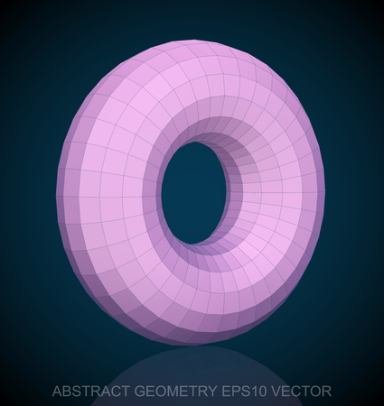 torus: Abstract stereometry: low poly Pink Torus. 3D polygonal object, EPS 10, vector illustration. Illustration