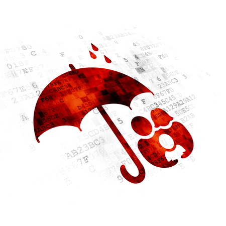 pixelated: Privacy concept: Pixelated red Family And Umbrella icon on Digital background