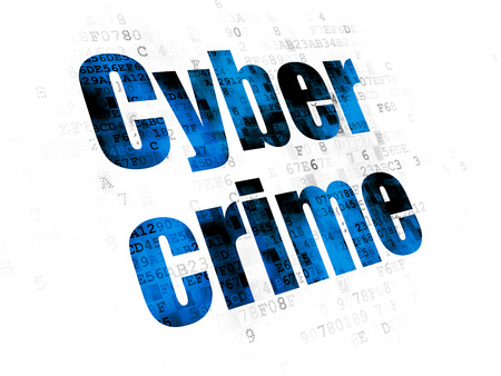 pin code: Security concept: Pixelated blue text Cyber Crime on Digital background