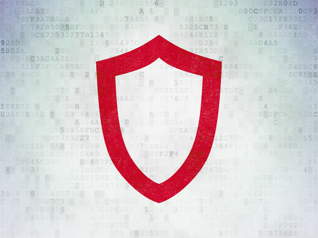 contoured: Protection concept: Painted red Contoured Shield icon on Digital Data Paper background