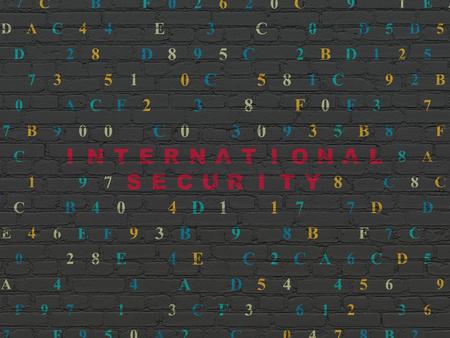 international security: Security concept: Painted red text International Security on Black Brick wall background with Hexadecimal Code