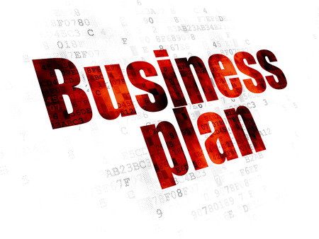 pixelated: Finance concept: Pixelated red text Business Plan on Digital background