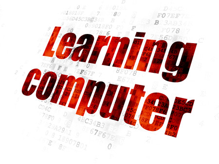 pixelated: Studying concept: Pixelated red text Learning Computer on Digital background
