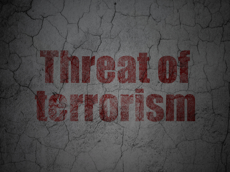 threat: Politics concept: Red Threat Of Terrorism on grunge textured concrete wall background