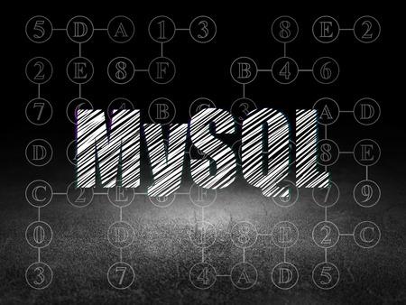 mysql: Software concept: Glowing text MySQL in grunge dark room with Dirty Floor, black background with Scheme Of Hexadecimal Code Stock Photo