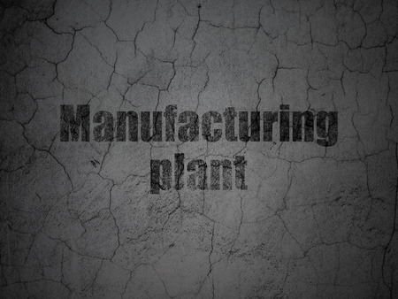 manufacturing plant: Manufacuring concept: Black Manufacturing Plant on grunge textured concrete wall background