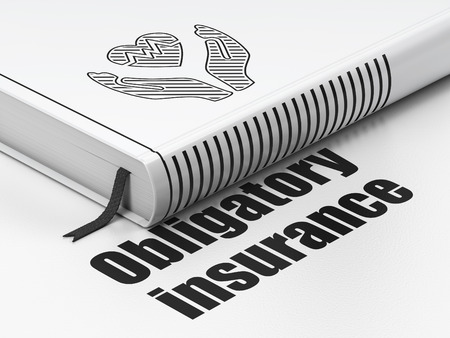 obligatory: Insurance concept: closed book with Black Heart And Palm icon and text Obligatory Insurance on floor, white background, 3D rendering Stock Photo