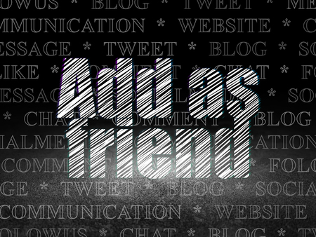 Social media concept: Glowing text Add as Friend in grunge dark room with Dirty Floor, black background with  Tag Cloud Stock Photo