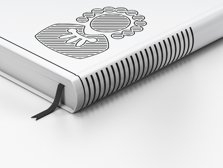 Law concept: closed book with Black Judge icon on floor, white background, 3D rendering