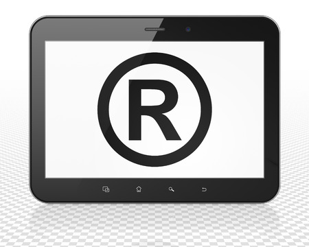 r regulation: Law concept: Tablet Pc Computer with black Registered icon on display, 3D rendering Stock Photo