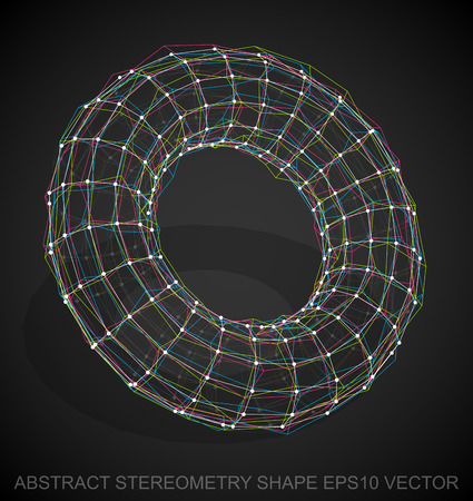 torus: Abstract geometry shape: Multicolor sketched Torus with Transparent Shadow. Hand drawn 3D polygonal Torus. EPS 10, vector illustration.
