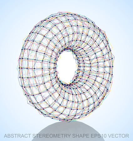 torus: Abstract stereometry shape: Multicolor sketched Torus with Reflection. Hand drawn 3D polygonal Torus.