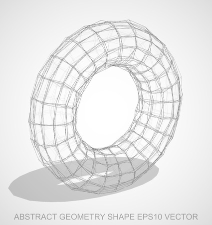 Abstract stereometry shape: Pencil sketched Torus with Transparent Shadow. Hand drawn 3D polygonal Torus. Banco de Imagens - 71012850