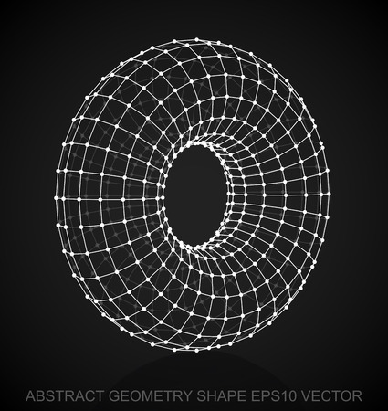 wire frame: Abstract geometry shape: White sketched Torus with Reflection. Hand drawn 3D polygonal Torus. EPS 10, vector illustration.