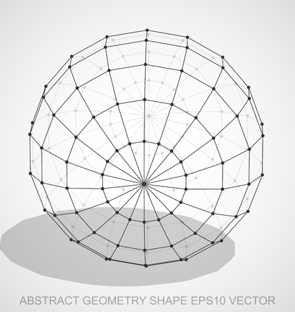 Abstract geometry shape: Black sketched Sphere with Transparent Shadow. Hand drawn 3D polygonal Sphere. EPS 10, vector illustration. Stock Vector - 69533757