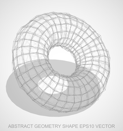 torus: Abstract geometry shape: Pencil sketched Torus with Transparent Shadow. Hand drawn 3D polygonal Torus. EPS 10, vector illustration.