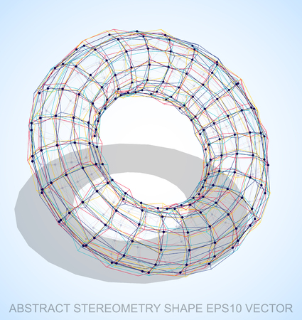 torus: Abstract stereometry shape: Multicolor sketched Torus with Transparent Shadow. Hand drawn 3D polygonal Torus. EPS 10, vector illustration.