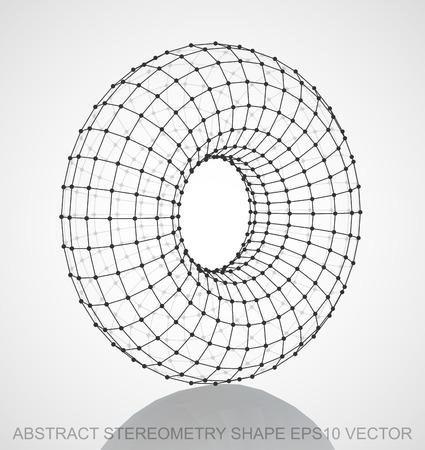 torus: Abstract stereometry shape: Black sketched Torus with Reflection. Hand drawn 3D polygonal Torus. EPS 10, vector illustration. Illustration