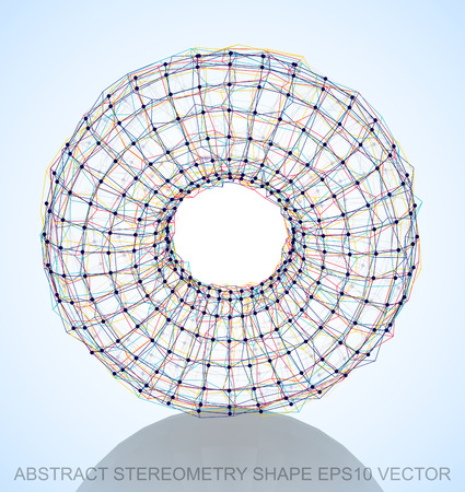 torus: Abstract stereometry shape: Multicolor sketched Torus with Reflection. Hand drawn 3D polygonal Torus. EPS 10, vector illustration. Illustration