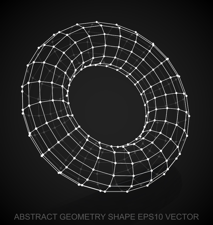 torus: Abstract stereometry shape: White sketched Torus with Reflection. Hand drawn 3D polygonal Torus. EPS 10, vector illustration.