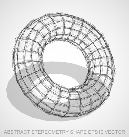 Abstract stereometry shape: Ink sketched Torus with Transparent Shadow. Hand drawn 3D polygonal Torus. EPS 10, vector illustration. Illustration