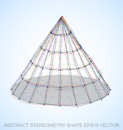 Abstract geometry shape: Multicolor sketched Cone with Transparent Shadow. Hand drawn 3D polygonal Cone. EPS 10, vector illustration. Illustration
