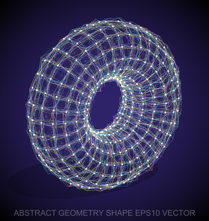 wire frame: Abstract stereometry shape: Multicolor sketched Torus with Transparent Shadow. Hand drawn 3D polygonal Torus. EPS 10, vector illustration.