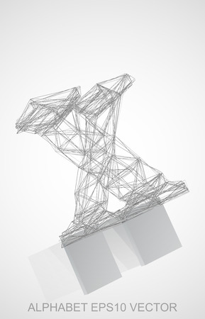 Abstract illustration of a Pencil sketched X with Reflection. Hand drawn 3D X for your design.