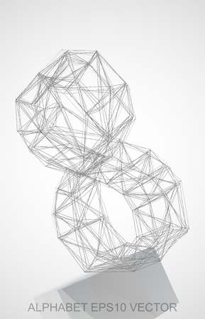 Abstract illustration of a Pencil sketched 8 with Reflection. Hand drawn 3D 8 for your design. Illustration