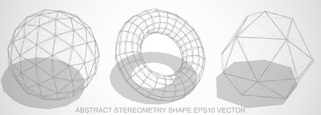 Set of Abstract stereometry shape: Pencil sketched Geosphere, Torus, Octahedron with Transparent Shadow. Hand drawn 3D polygonal objects. Illustration