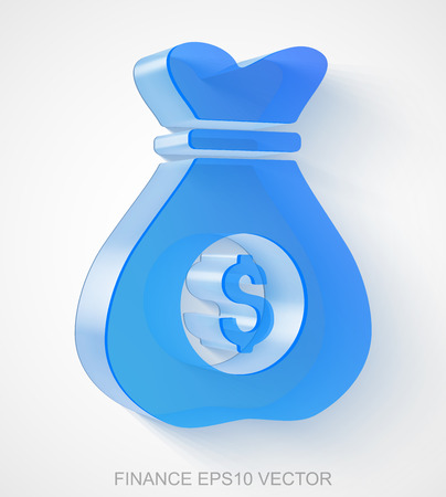 Business icon: extruded Blue Transparent Plastic Money Bag with transparent shadow, EPS 10 vector illustration.