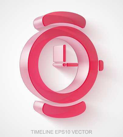 Timeline icon: extruded Red Transparent Plastic Hand Watch with transparent shadow, EPS 10 vector illustration. Illustration