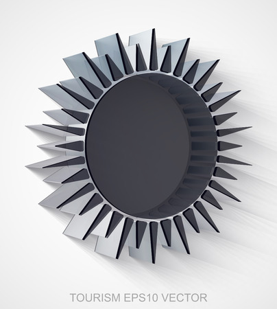 Vacation icon: extruded Black Transparent Plastic Sun with transparent shadow, EPS 10 vector illustration.