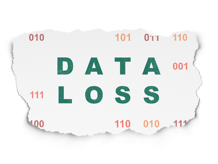 data loss: Data concept: Painted green text Data Loss on Torn Paper background with  Binary Code