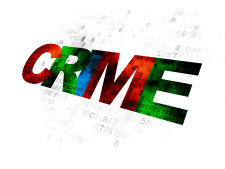 Security concept: Pixelated multicolor text Crime on Digital background