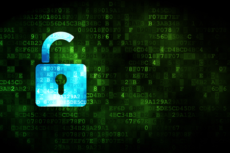 Privacy concept: pixelated Opened Padlock icon on digital background, empty copyspace for card, text, advertising Stock Photo
