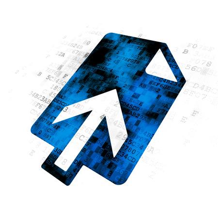 Web development concept: Pixelated blue Upload icon on Digital background
