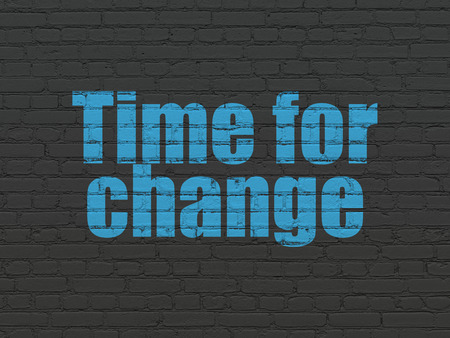 cronologia: Time concept: Painted blue text Time for Change on Black Brick wall background
