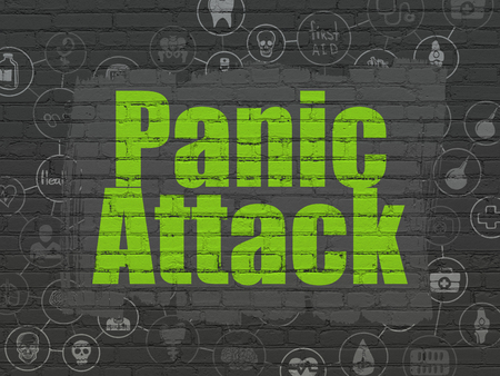 panic attack: Healthcare concept: Painted green text Panic Attack on Black Brick wall background with Scheme Of Hand Drawn Medicine Icons