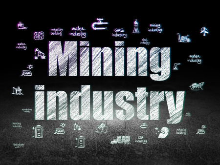 old mining building: Manufacuring concept: Glowing text Mining Industry,  Hand Drawn Industry Icons in grunge dark room with Dirty Floor, black background