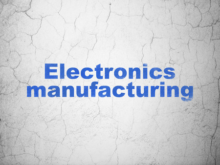 textured wall: Industry concept: Blue Electronics Manufacturing on textured concrete wall background Stock Photo