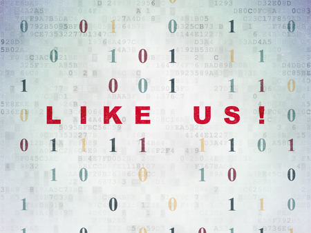 microblog: Social network concept: Painted red text Like us! on Digital Data Paper background with Binary Code Stock Photo
