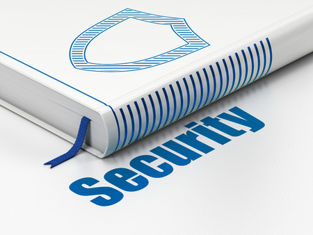Security concept: closed book with Blue Contoured Shield icon and text Security on floor, white background, 3D rendering