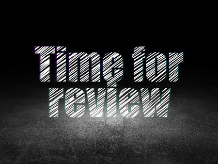 Time concept: Glowing text Time for Review in grunge dark room with Dirty Floor, black background