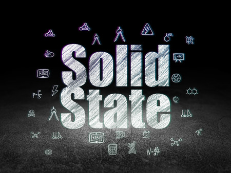 solid state: Science concept: Glowing text Solid State,  Hand Drawn Science Icons in grunge dark room with Dirty Floor, black background Stock Photo